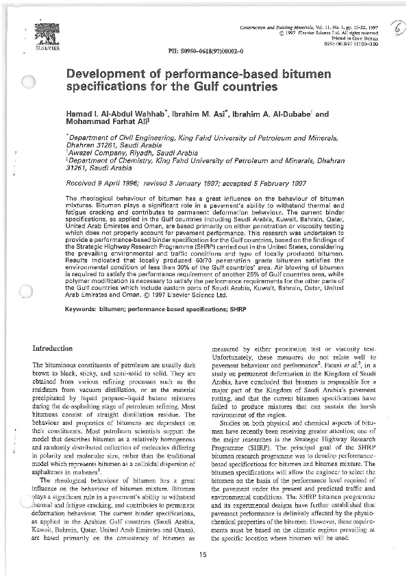 PDF) Development of performance-based bitumen specifications for the
