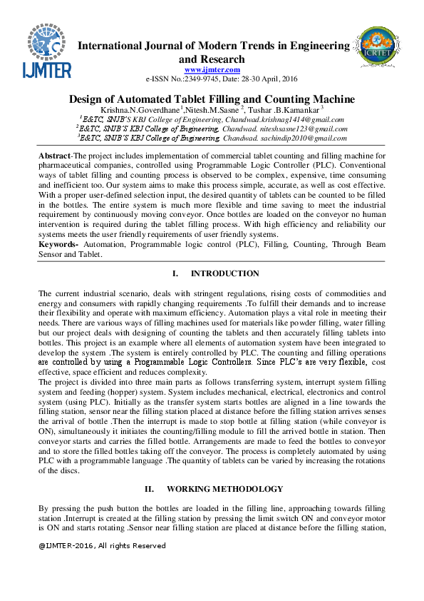 PDF) Design of Automated Tablet Filling and Counting Machine