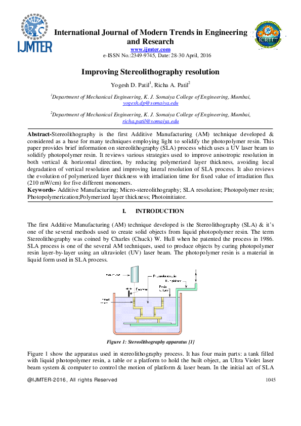 PDF) Improving Stereolithography resolution | Editor IJMTER