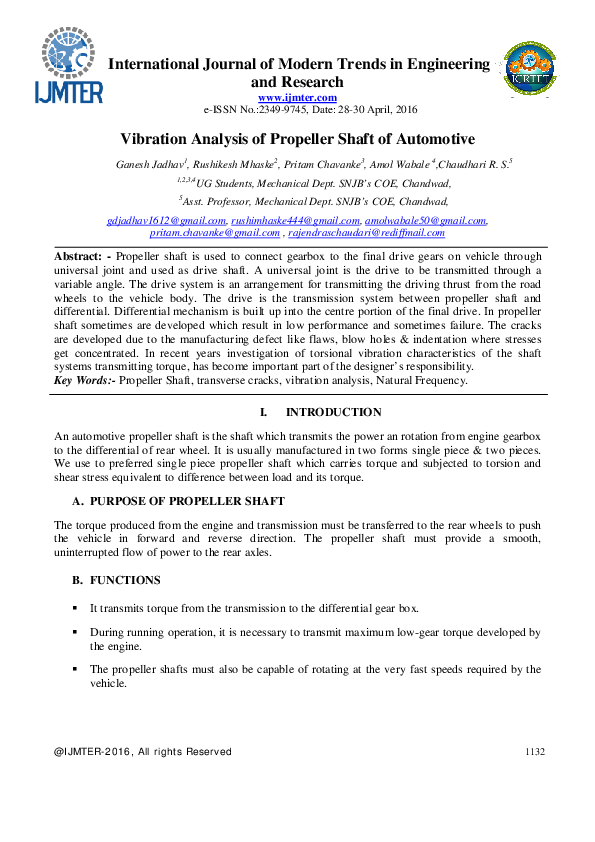 PDF) Vibration Analysis of Propeller Shaft of Automotive