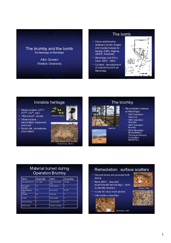 PDF) The brumby and the bomb: archaeology at Maralinga