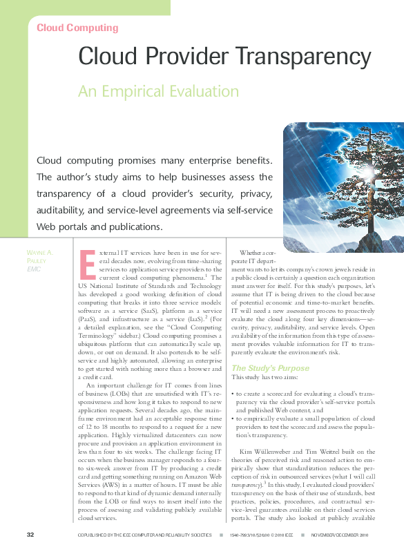 PDF) Cloud Provider Transparency: An Empirical Evaluation | Wayne