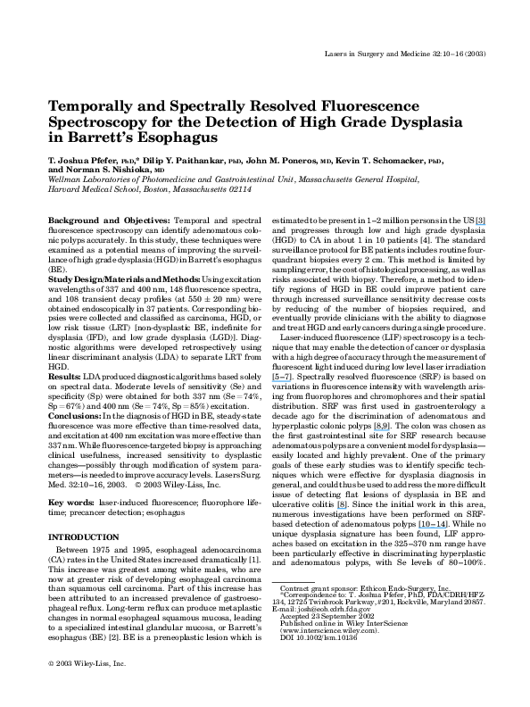 PDF) Temporally and spectrally resolved fluorescence
