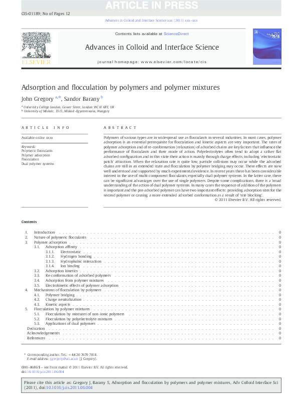 PDF) Adsorption and flocculation by polymers and polymer
