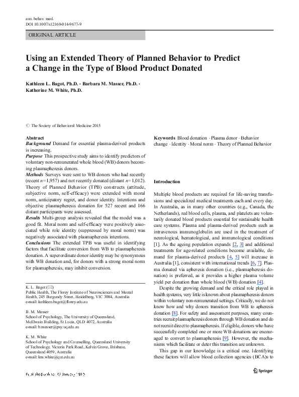 PDF) Using an Extended Theory of Planned Behavior to Predict