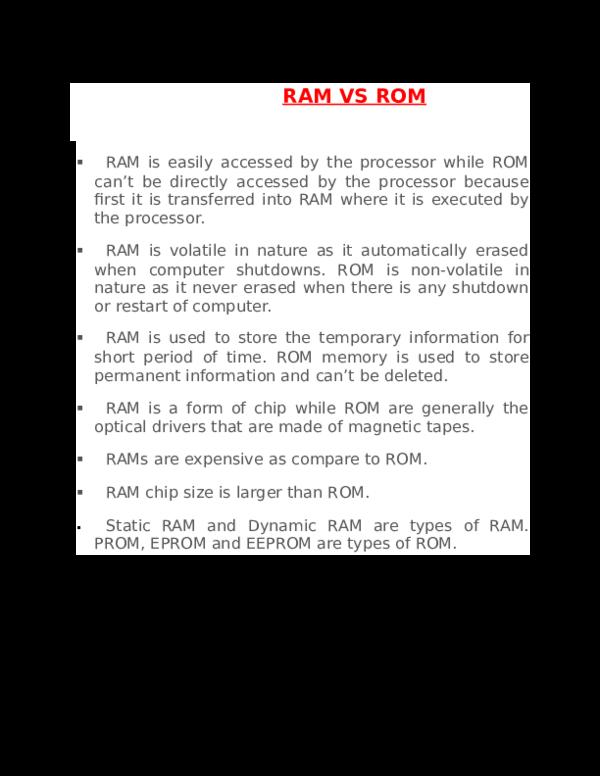 DOC) RAM VS ROM | Asaduzzaman Shad - Academia edu