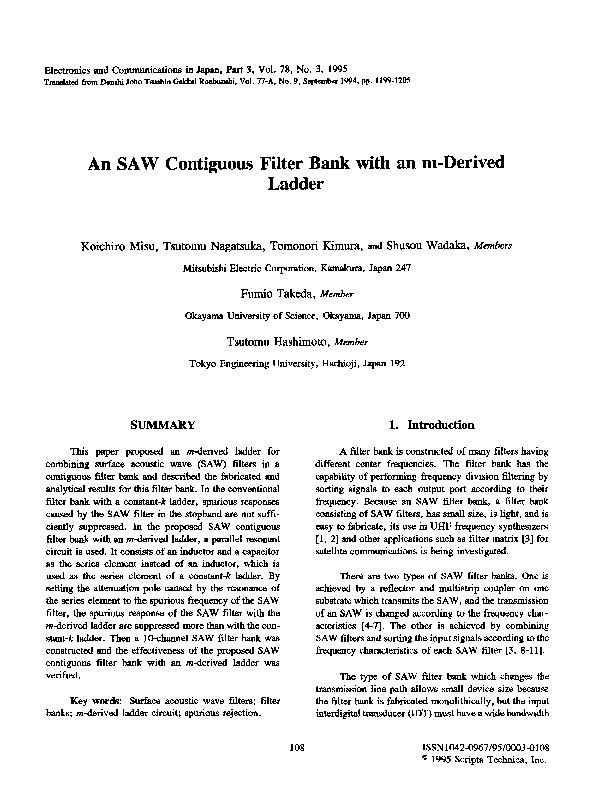 PDF) A SAW contiguous filter bank with an m derived ladder | Kohei