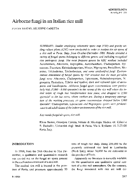 literature review on fungal airspora