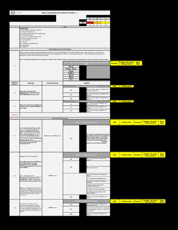 XLS) Bemis Combustible Dust Checklist v1 9 9 13 (4) PSPR