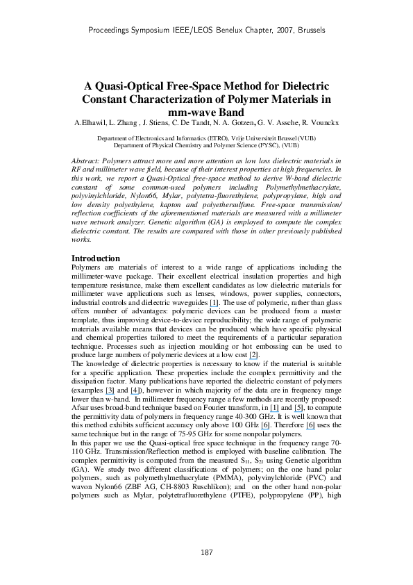 PDF) A Quasi-Optical Free-Space Method for Dielectric Constant