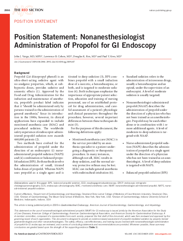 PDF) Position Statement: Nonanesthesiologist Administration of