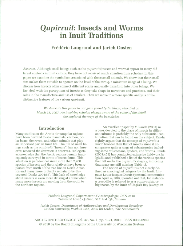 PDF) Qupirruit : Insects and Worms in Inuit Traditions   frederic
