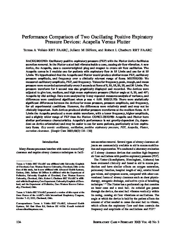 PDF) Performance comparison of two oscillating positive expiratory