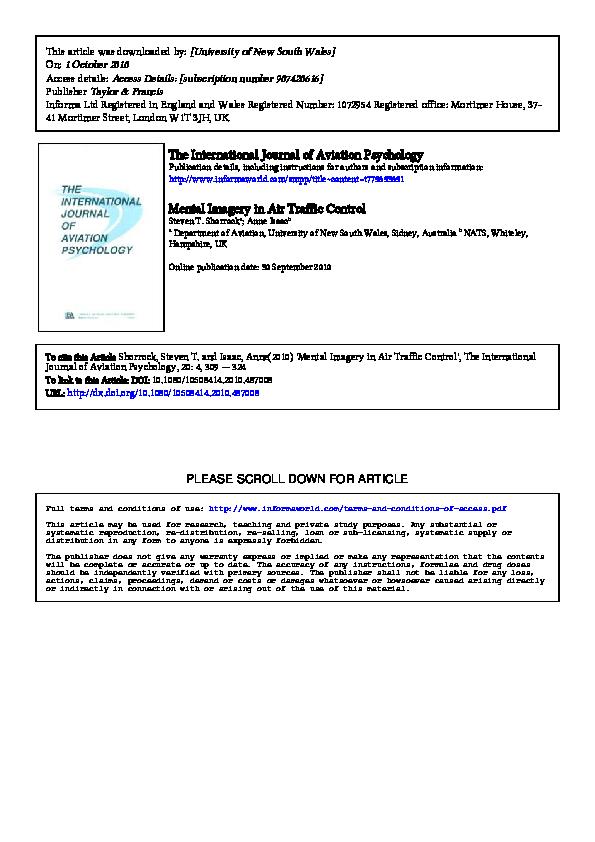 PDF) Mental Imagery in Air Traffic Control | Steven Shorrock