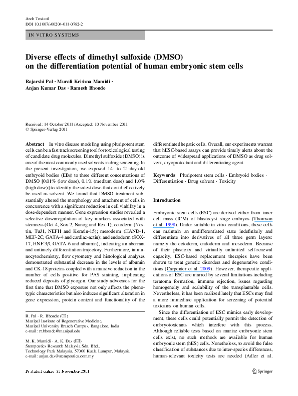 PDF) Diverse effects of dimethyl sulfoxide (DMSO) on the