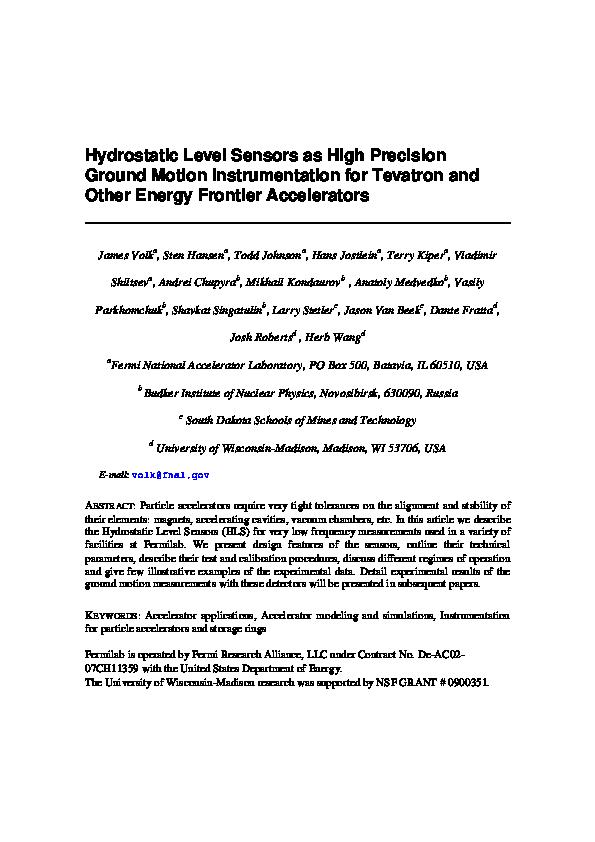 PDF) Hydrostatic level sensors as high precision ground motion ... on
