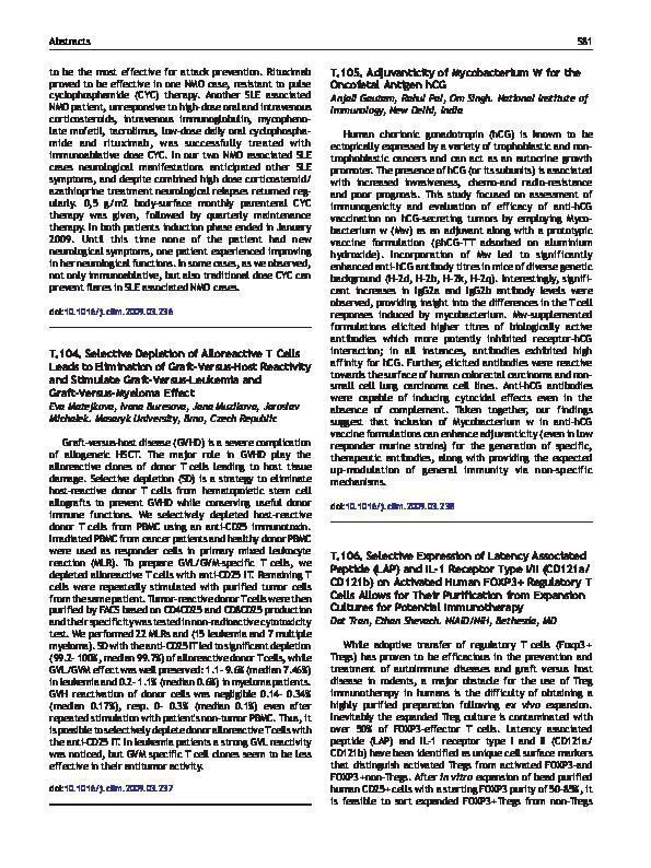 PDF) T 105  Adjuvanticity of Mycobacterium W for the Oncofetal