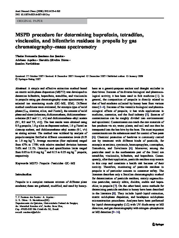 PDF) MSPD procedure for determining buprofezin, tetradifon