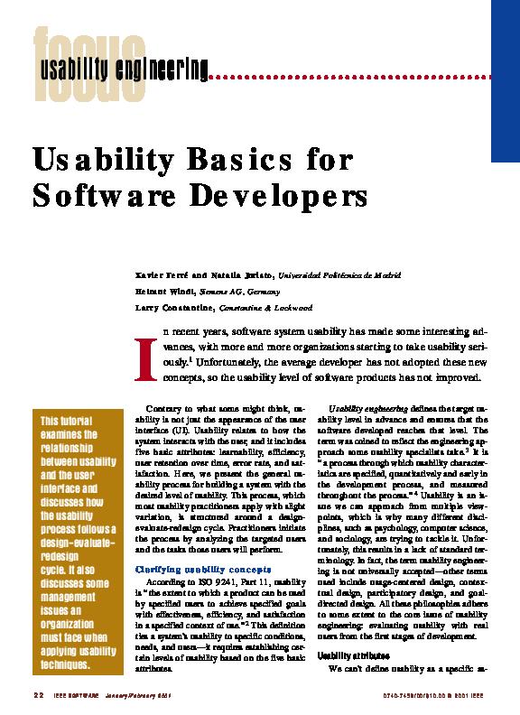 Pdf Usability Basics For Software Developers Xavier Ferre Academia Edu