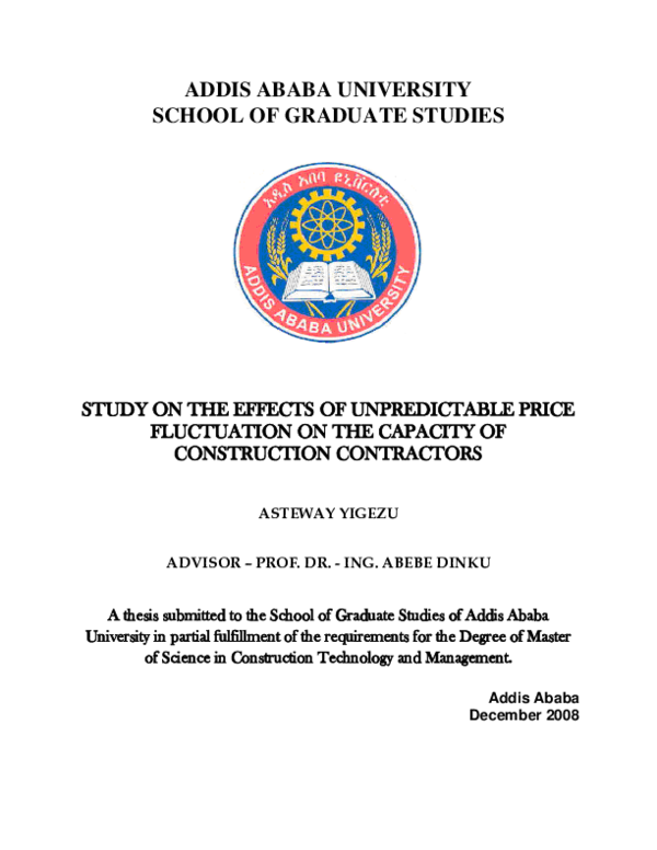 PDF) ADDIS ABABA UNIVERSITY SCHOOL OF GRADUATE STUDIES STUDY ON THE