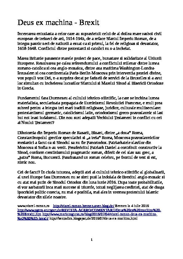 DOC) Deus ex machina -Brexit | Viorel Roman - Academia edu