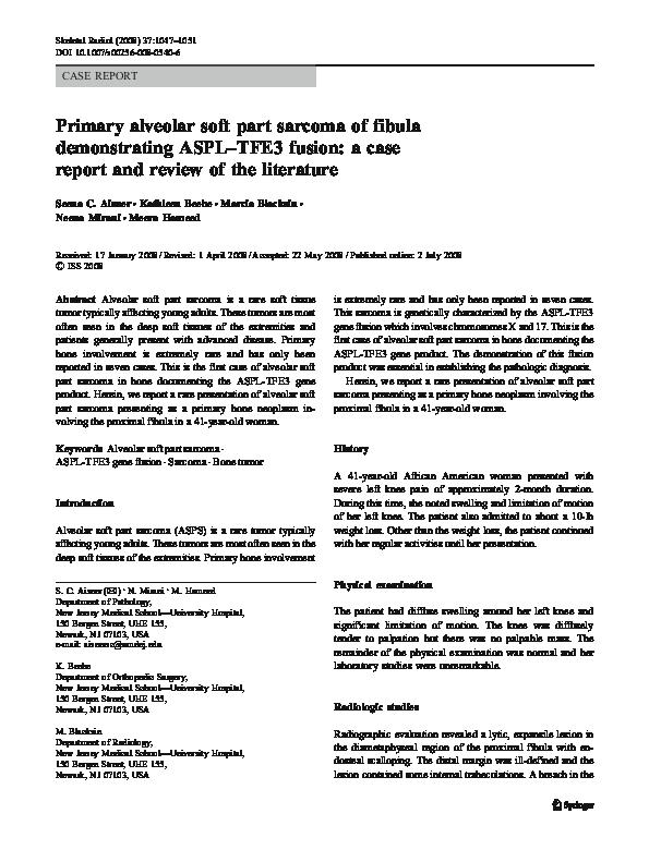 PDF) Primary alveolar soft part sarcoma of fibula
