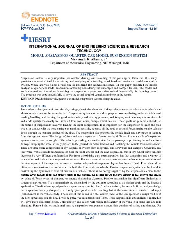 PDF) MODAL ANALYSIS OF QUARTER CAR MODEL SUSPENSION SYSTEM | IJESRT