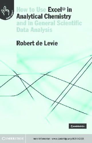 PDF) Excel in Analytical Chemistry.pdf   Douglas Bencio ...