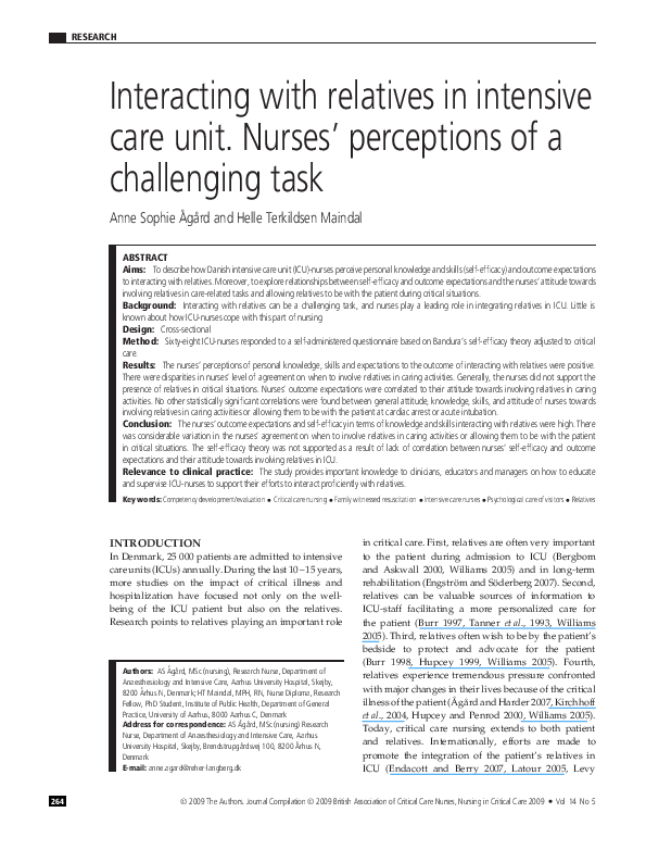 PDF) Interacting with relatives in intensive care unit