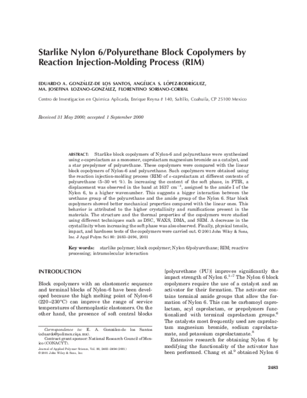 PDF) Starlike Nylon 6/polyurethane block copolymers by reaction