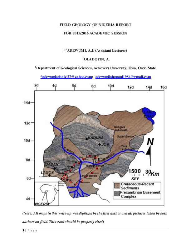 Field Geology Of Nigeria Report For 2015 2016 Academic Session