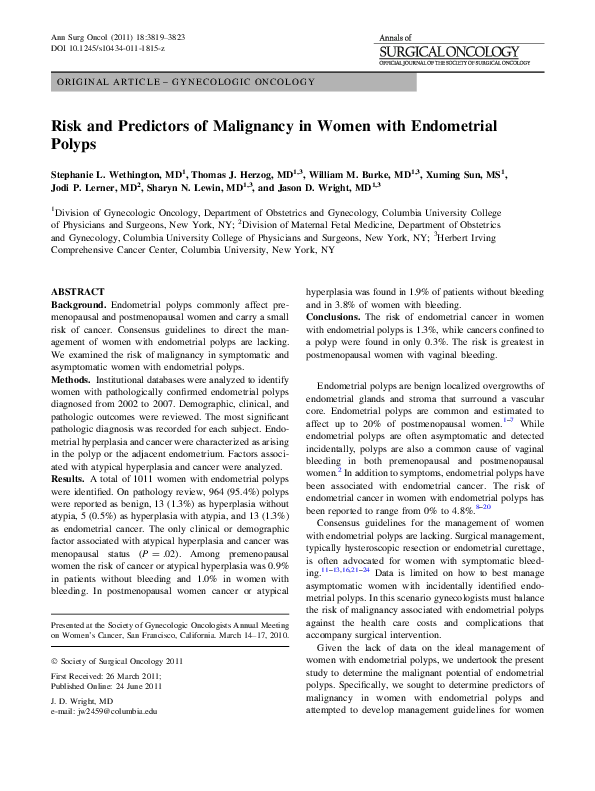 PDF) Risk and Predictors of Malignancy in Women with Endometrial