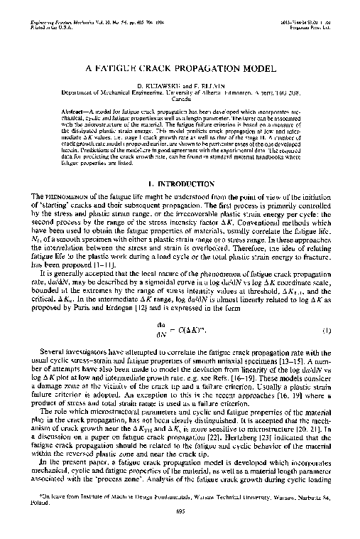 PDF) A fatigue crack propagation model   Daniel Kujawski - Academia edu