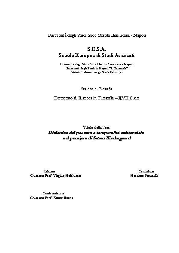 Pdf Dialettica Del Peccato E Temporalita Esistenziale Nel Pensiero Di Soren Kierkegaard Massimo Pontesilli Academia Edu
