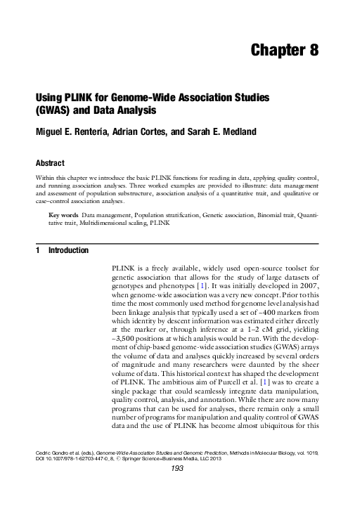 PDF) Using PLINK for Genome-Wide Association Studies (GWAS) and data