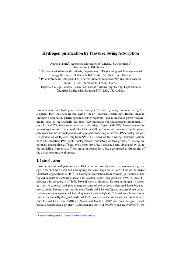 PDF) Purification of Hydrogen by Pressure Swing Adsorption | Timothy
