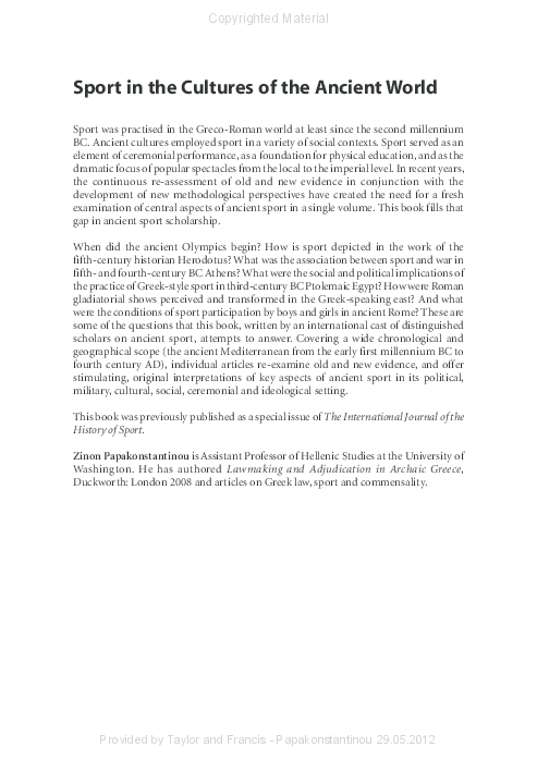d7da6b35c PDF) Sport in the Cultures of the Ancient World. New Perspectives ...