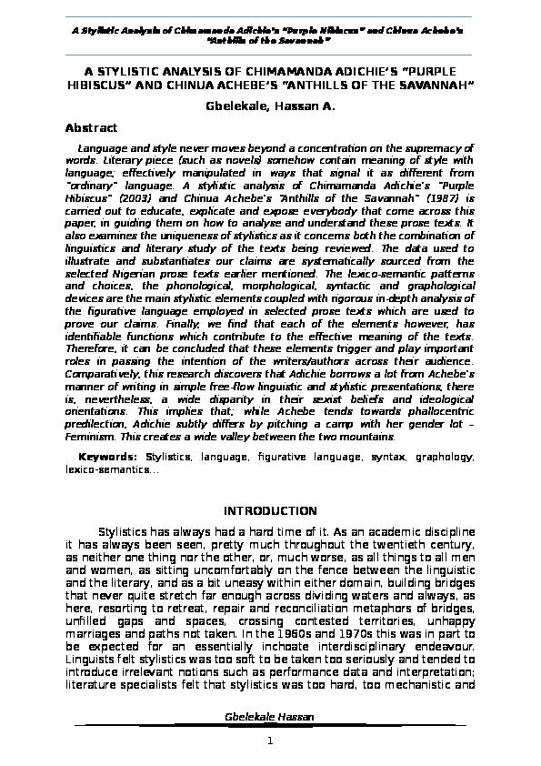 Doc A Stylistic Analysis Of Chimamanda Adichies Purple Hibiscus