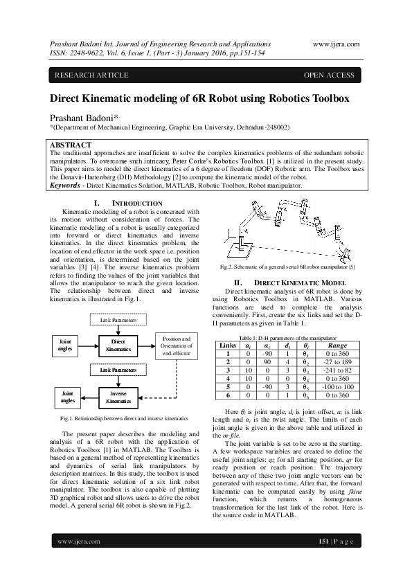 PDF) Direct Kinematic modeling of 6R Robot using Robotics Toolbox