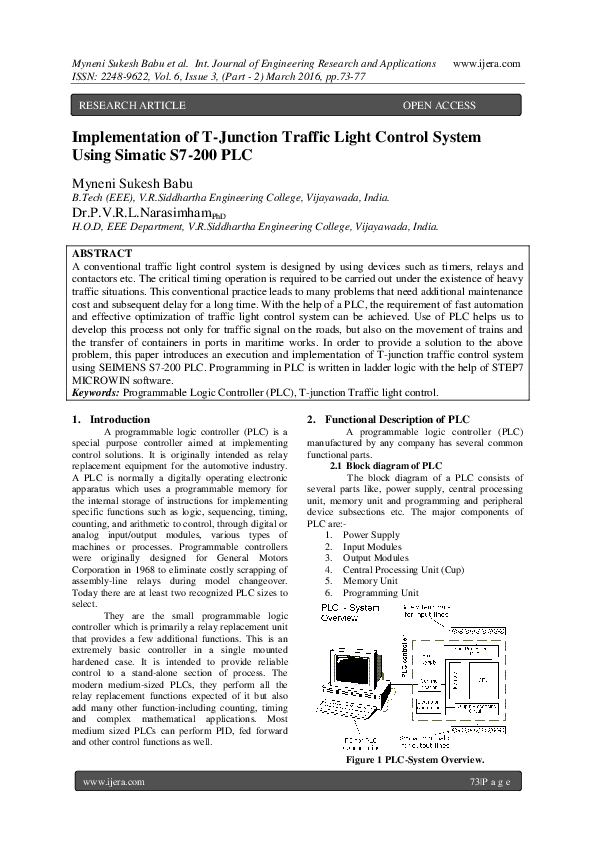 PDF) Implementation of T-Junction Traffic Light Control System Using