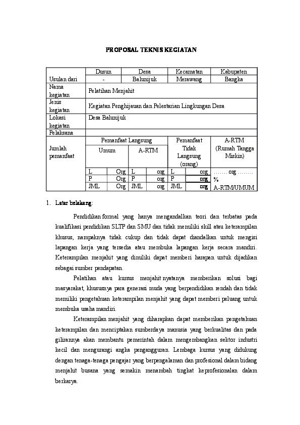 Contoh Proposal Kegiatan Desa Ilmusosial Id