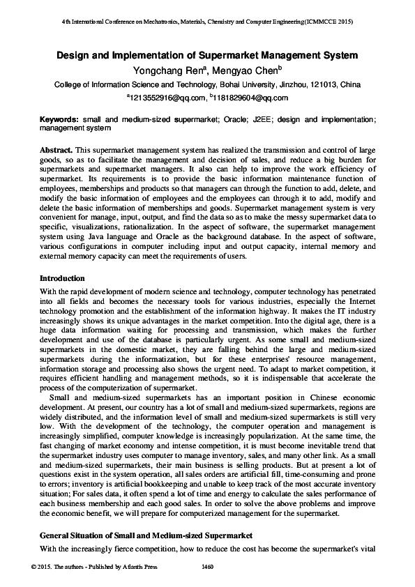 PDF) Design and Implementation of Supermarket Management