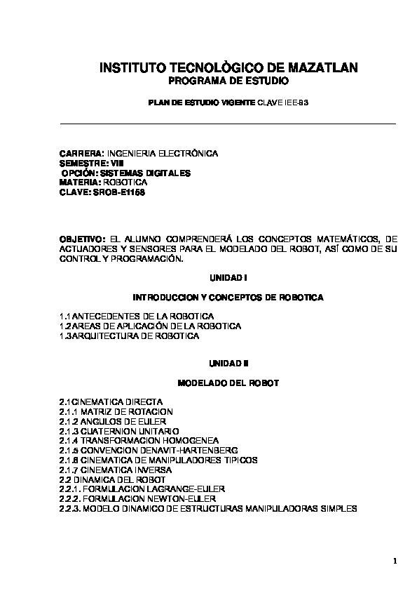 Pdf Instituto Tecnològico De Mazatlan Programa De Estudio