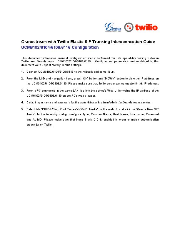 PDF) Grandstream-Twilio | Hakim Fauzi - Academia edu