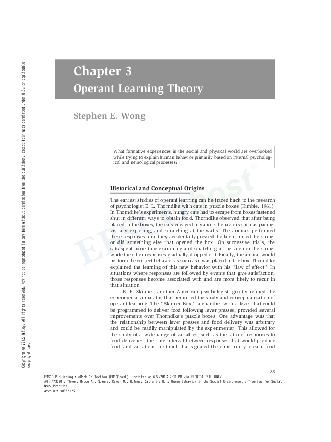 PDF) Operant Learning Theory | Stephen E Wong - Academia edu
