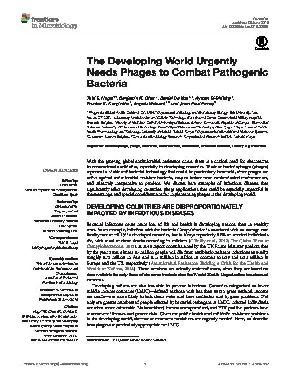 PDF) The Developing World Urgently Needs Phages to Combat