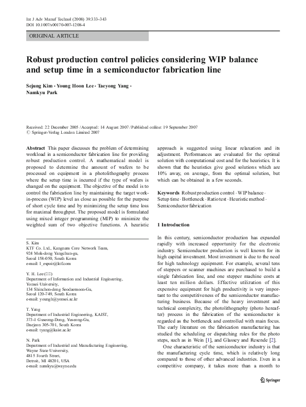 PDF) Robust production control policies considering WIP balance and