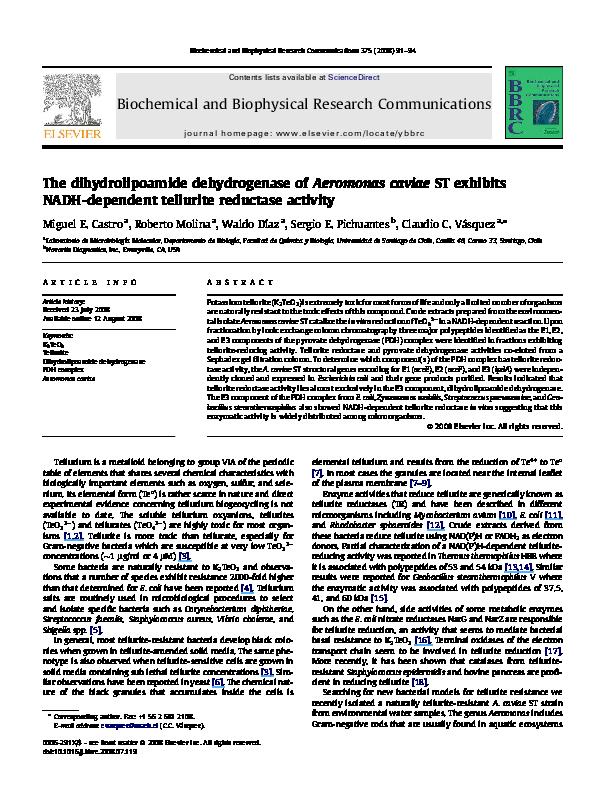 PDF) The dihydrolipoamide dehydrogenase of Aeromonas caviae
