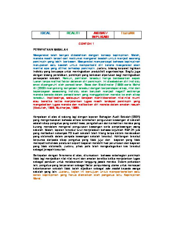 Pdf Contoh Pernyataan Masalah Wan Khairy Academia Edu