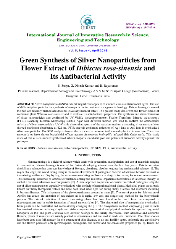 Pdf Green Synthesis Of Silver Nanoparticles From Flower Extract Of